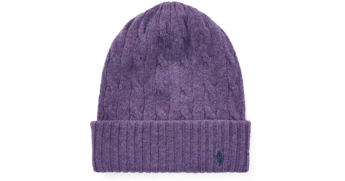 Lyst - Polo Ralph Lauren Cable Cashmere-wool Hat in Purple b80869ce776
