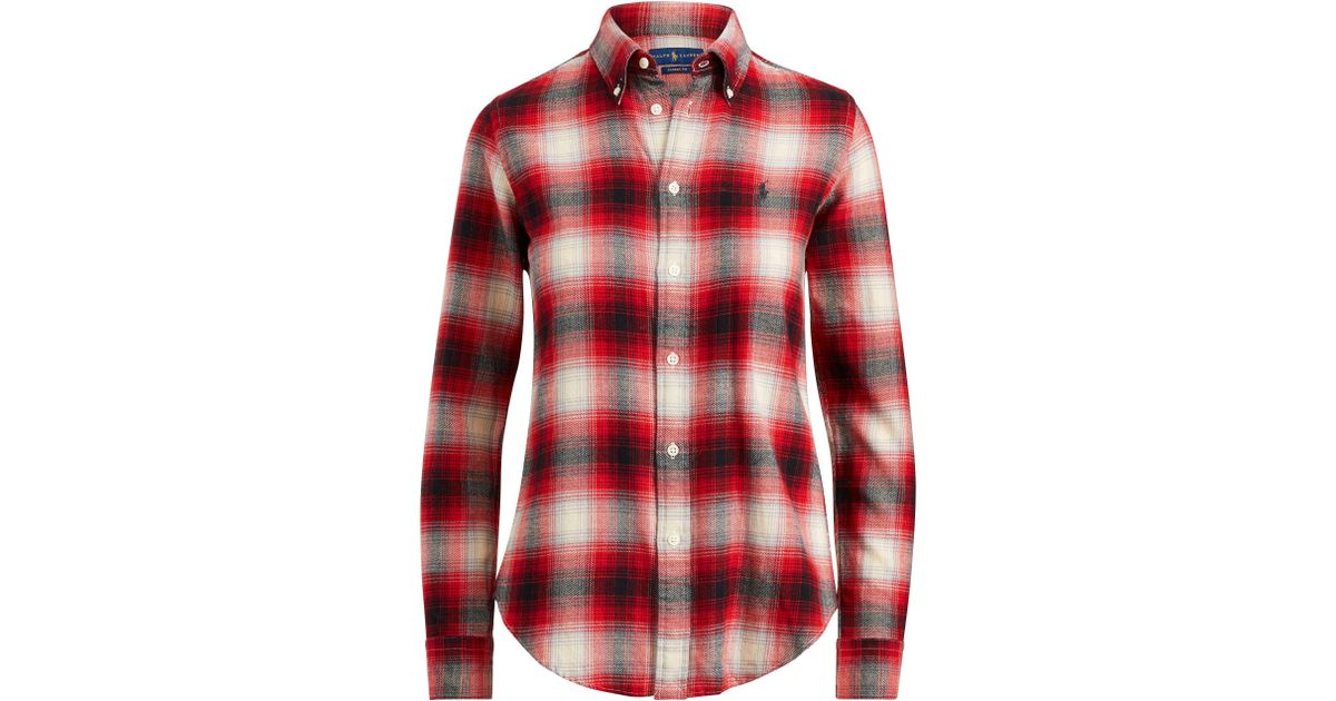 7df5007ba667 Polo Ralph Lauren Classic Fit Plaid Twill Shirt in Red - Lyst