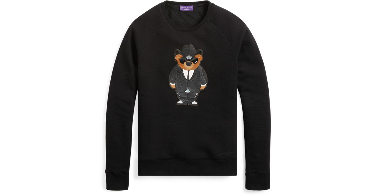 Lyst ralph lauren purple label western bear sweatshirt in black