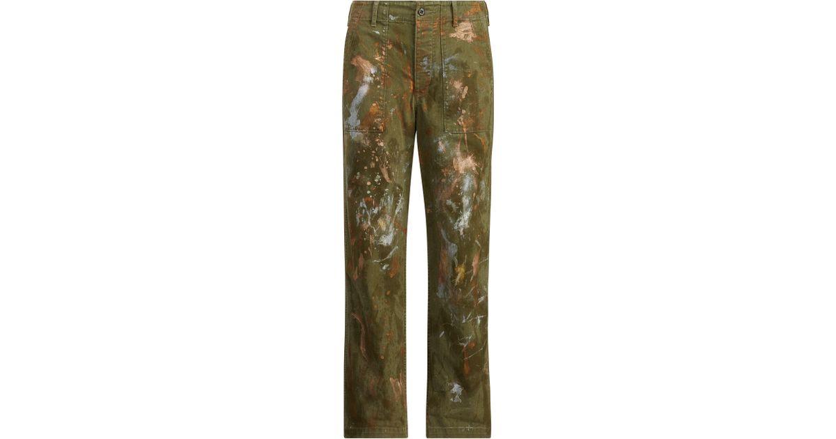 c17104ddb3 Polo Ralph Lauren Green Paint-splatter Straight Pant