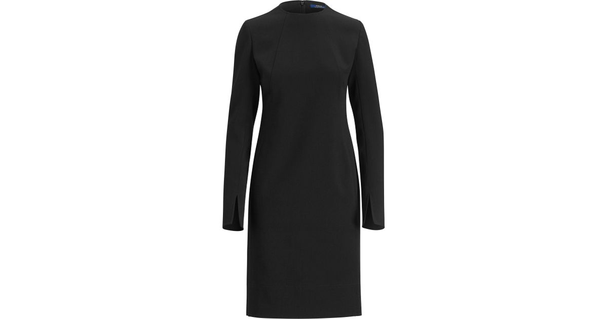 8607020b28 Polo Ralph Lauren Stretch Wool Sleeve-slit Dress in Black - Lyst