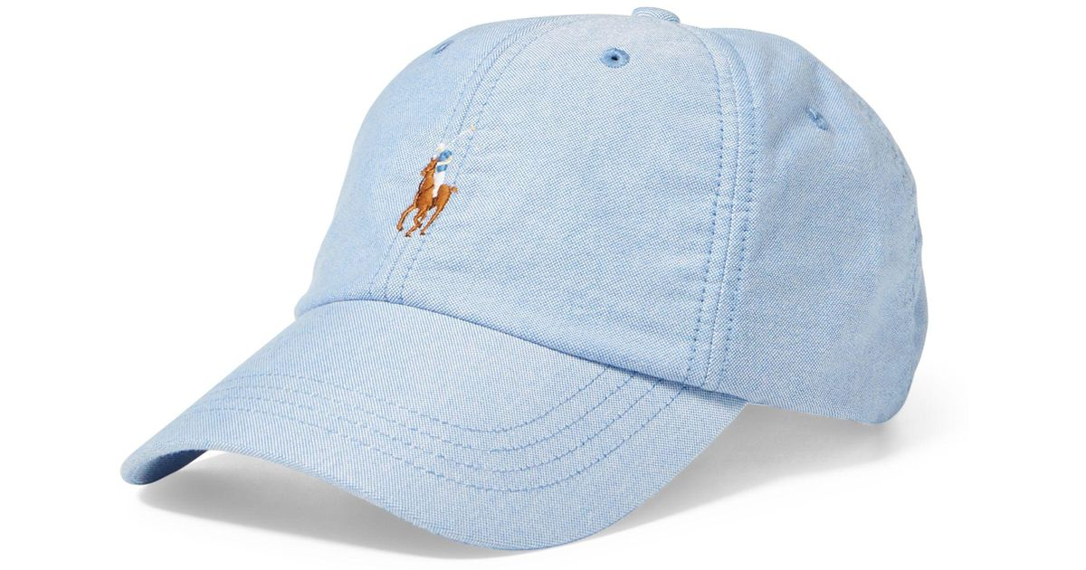 Blue Oxford Polo Men Ralph Baseball De Casquette For Coton Lauren Lyst 0vnmN8w