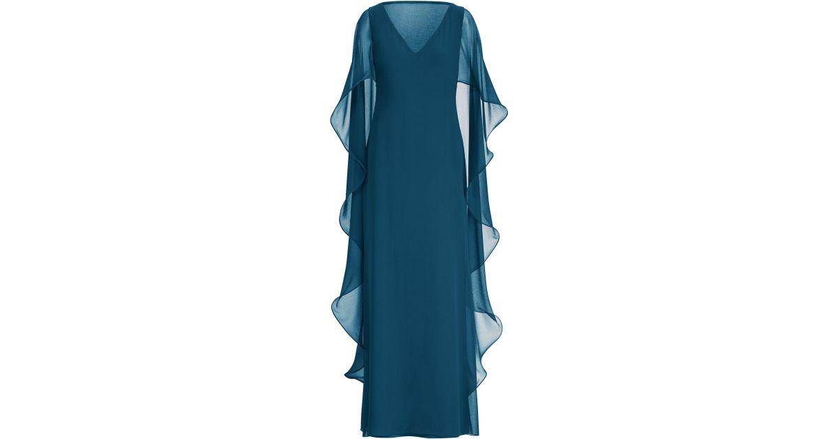 6c791b8a66 Ralph Lauren Blue Ruffled Georgette Cape Gown