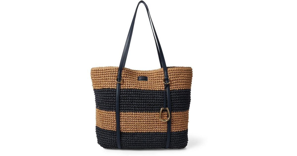 b9a39788a36c Ralph Lauren - Blue Crocheted Straw Large Tote - Lyst