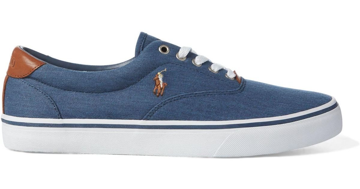 2422f7208c Polo Ralph Lauren Blue Thorton Washed Twill Sneaker for men