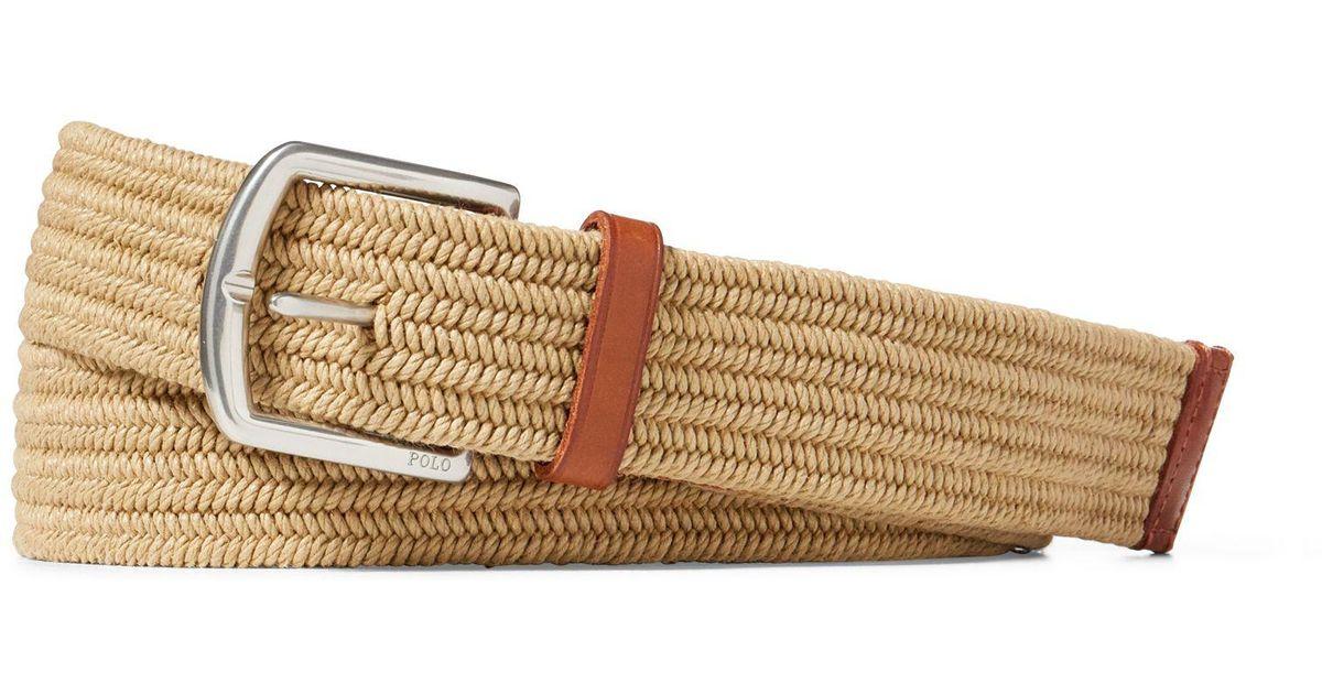 4e3365ce25 Polo Ralph Lauren Brown Braided Stretch Cotton Belt for men