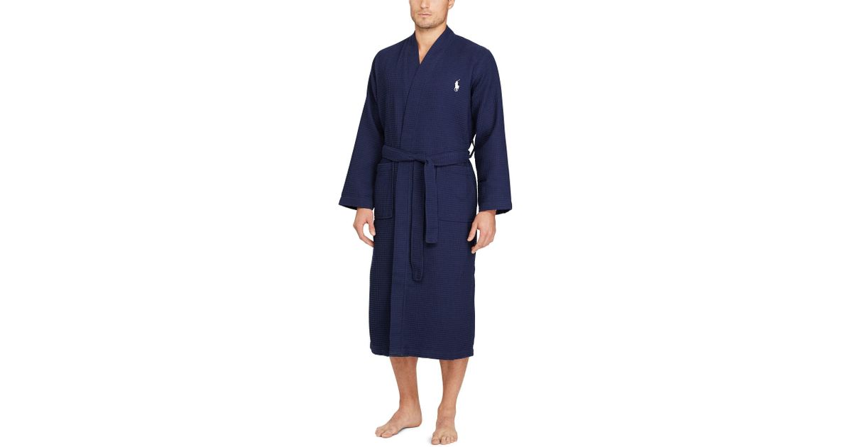 fast color online retailer undefeated x Polo Ralph Lauren Blue Waffle-knit Cotton Kimono Robe for men
