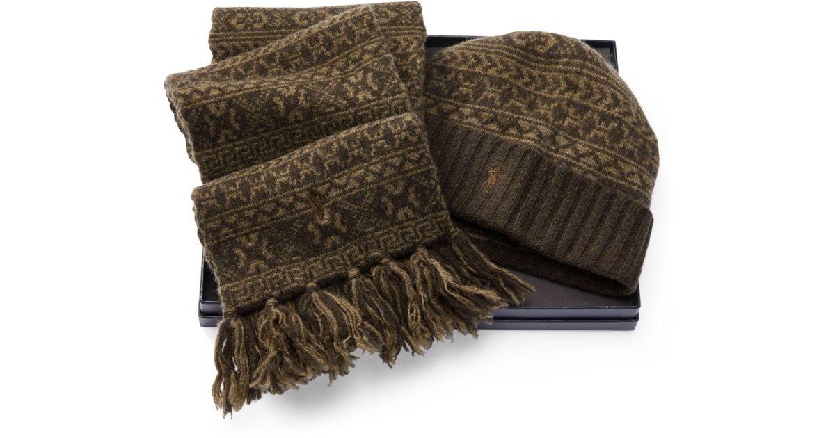 Polo ralph lauren Fair Isle Hat & Scarf Gift Set for Men | Lyst