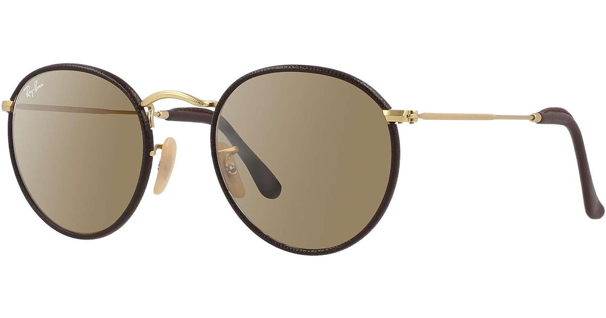 Ray ban round craft in brown lyst for Ray ban craft round