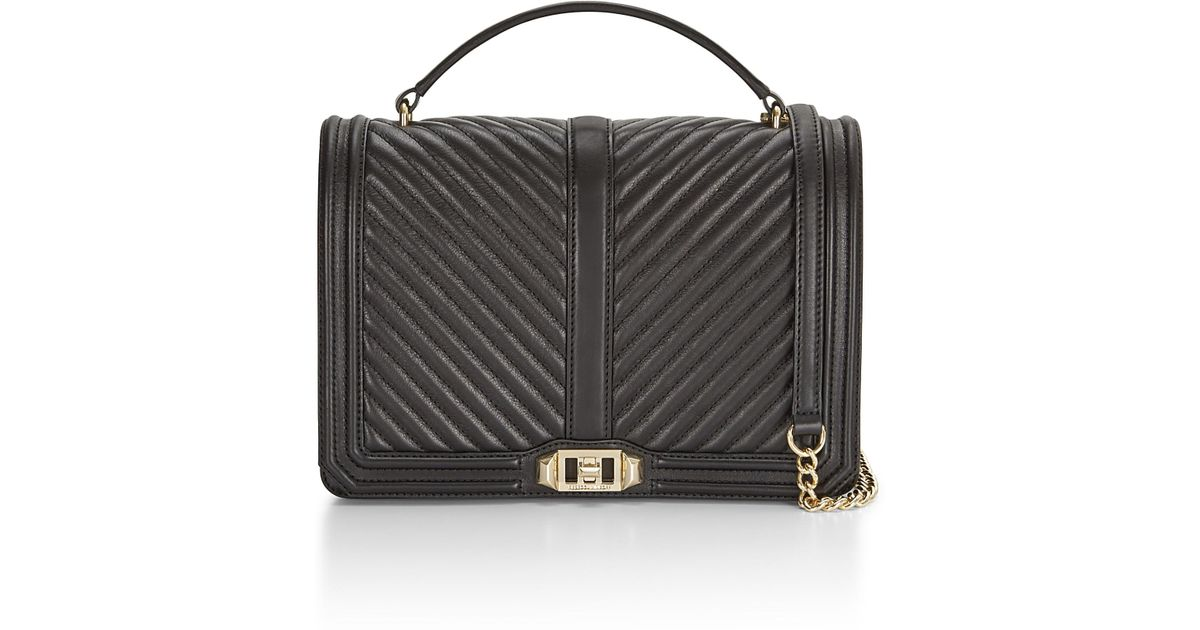 b6a95f5ac Rebecca Minkoff Chevron Quilted Jumbo Love Crossbody With Top Handle in  Black - Lyst