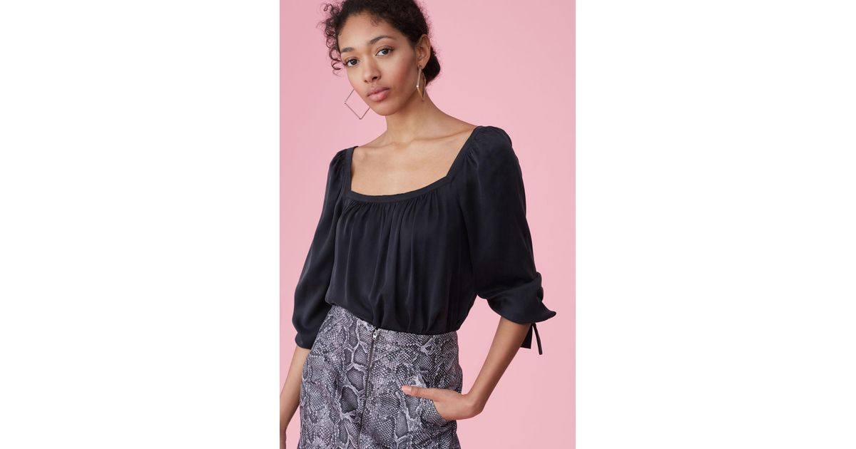76573e576846b3 Lyst - Rebecca Taylor Silk Charmeuse Square Neck Top in Black