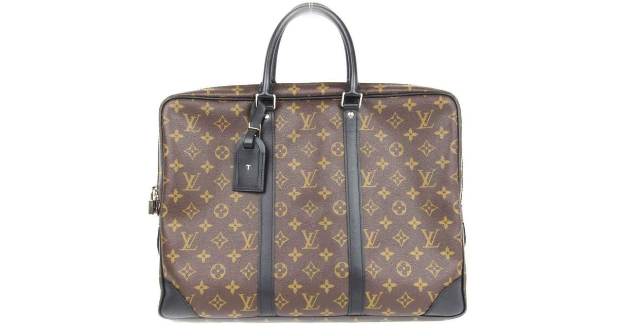9beacd8798eb Lyst - Louis Vuitton Porte Documents Voyage Hand Bag Briefcase M40225 Monogram  Macassar in Brown