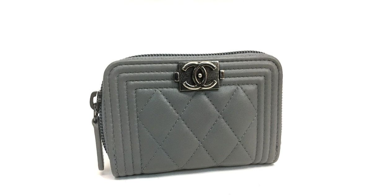 cffdd2feec409d Chanel Boy Zip Around Coin Purse Gray Lambskin Leather in Gray - Lyst