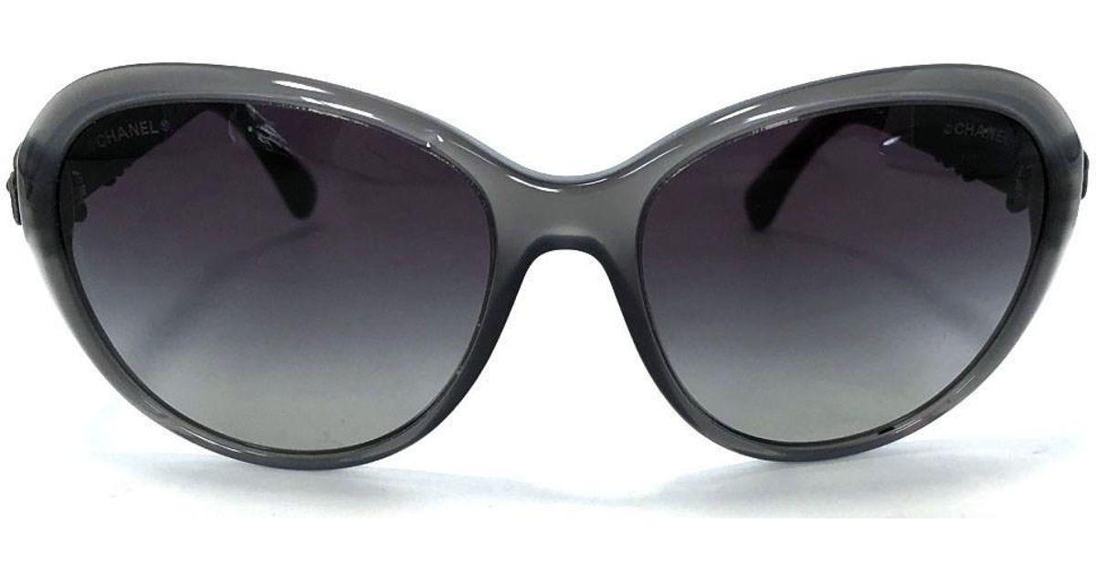 cdc02270ad Lyst - Chanel Sunglasses Camellia Leather Coco Mark Gray 5316 Women s in  Gray