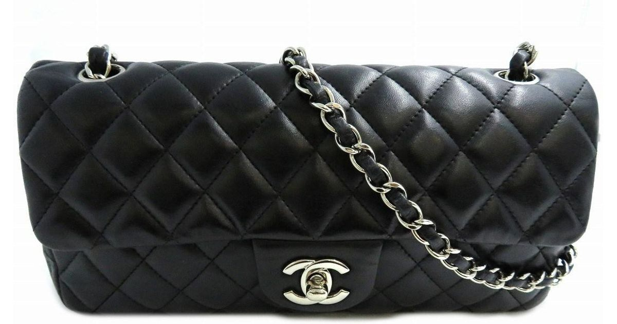 Lyst Chanel Classic Flap Medium Shoulder Bag Lambskin Leather Black 6848 In