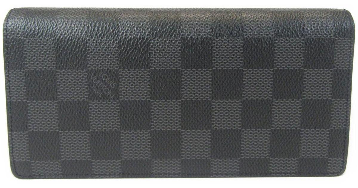 Lyst - Louis Vuitton Damier Graphite Portefeuille Brazza Bifold Wallet  N62665 in Black a42d5754a7d