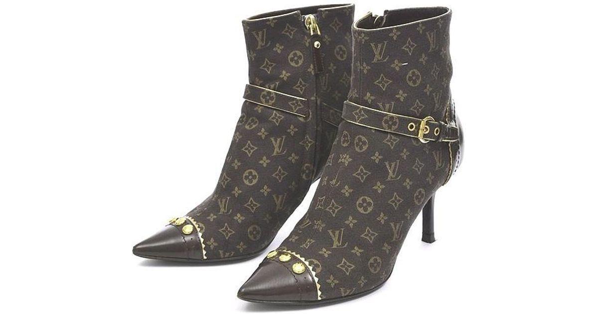 1895efd223 Louis Vuitton Brown Monogram Mini Heel Short Boots Women's # 34 1/2