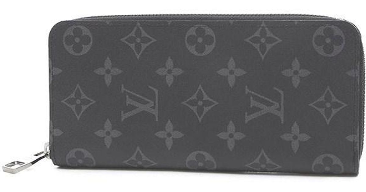 27a2a2f3f963 Lyst - Louis Vuitton Monogram Eclipse Zippy Wallet Vertical Purse M62295 in  Black