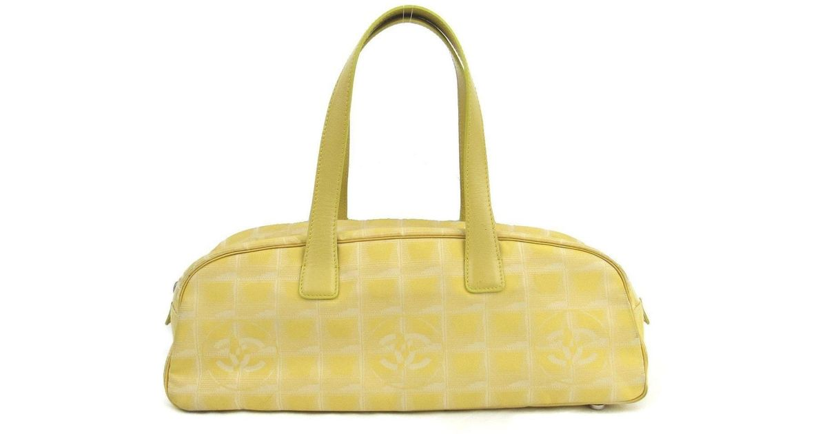 fadb27d87418 Chanel Authentic New Travel Line Boston Bag Nylon X Leather Yellow Used  Vintage in Yellow - Lyst