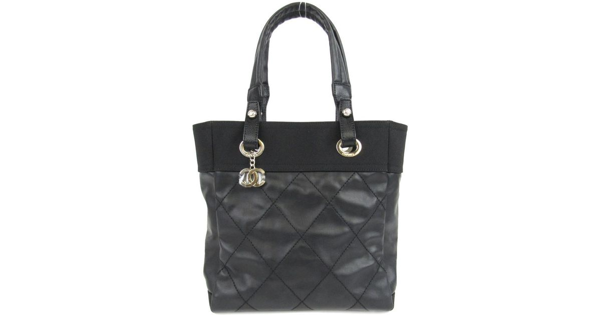 b7ef5235 Chanel Paris Biarritz Pm Tote Bag Quilted Coated Canvas Black