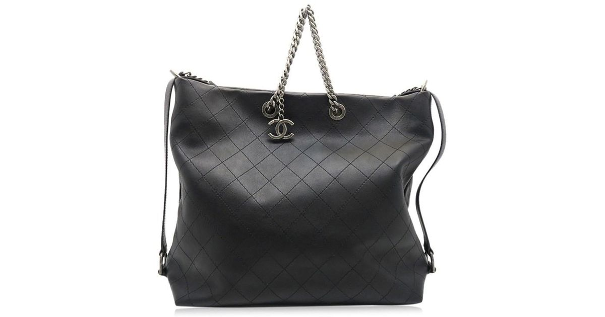 12fc9a87956c Lyst - Chanel Quilting Calfskin Leather Chain Shoulder Tote Bag Black 0428  in Black