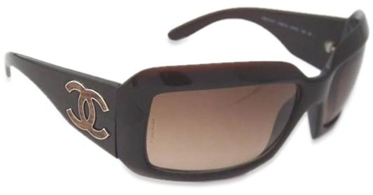 5f1badac453e Chanel Sunglasses Coco Mark 6022 Brown Lizard Embossed Leather Women's  Brown in Brown - Lyst