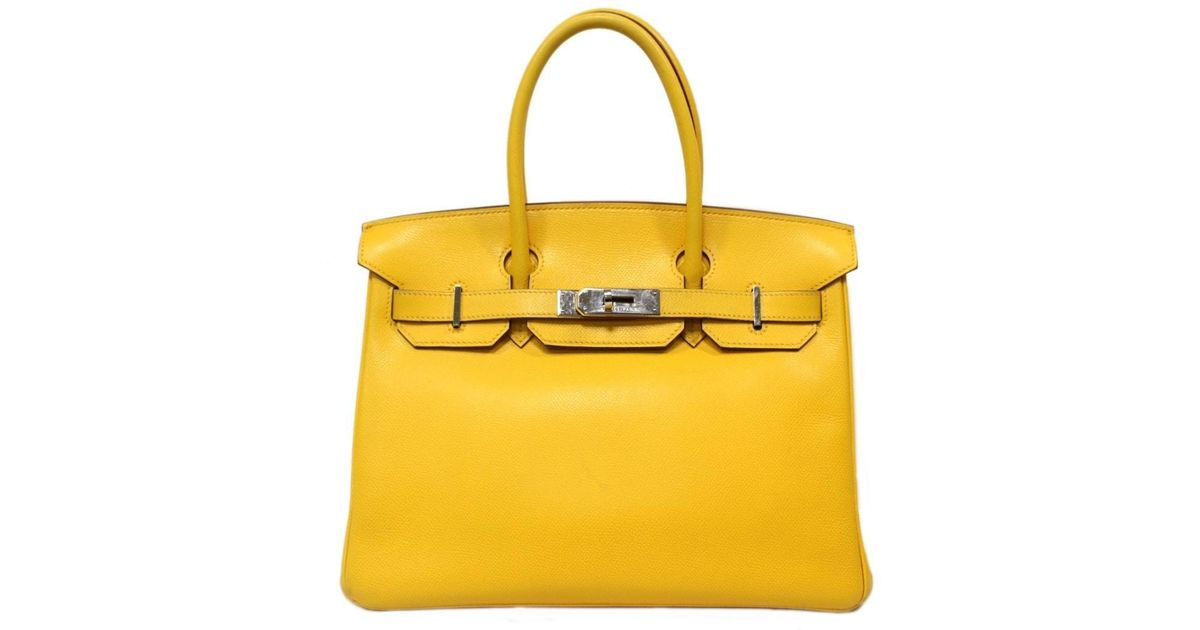 bbe49788c9 Lyst - Hermès Birkin 30 Handbag Totebag Veau Epsom Leather Jaune Yellow in  Yellow