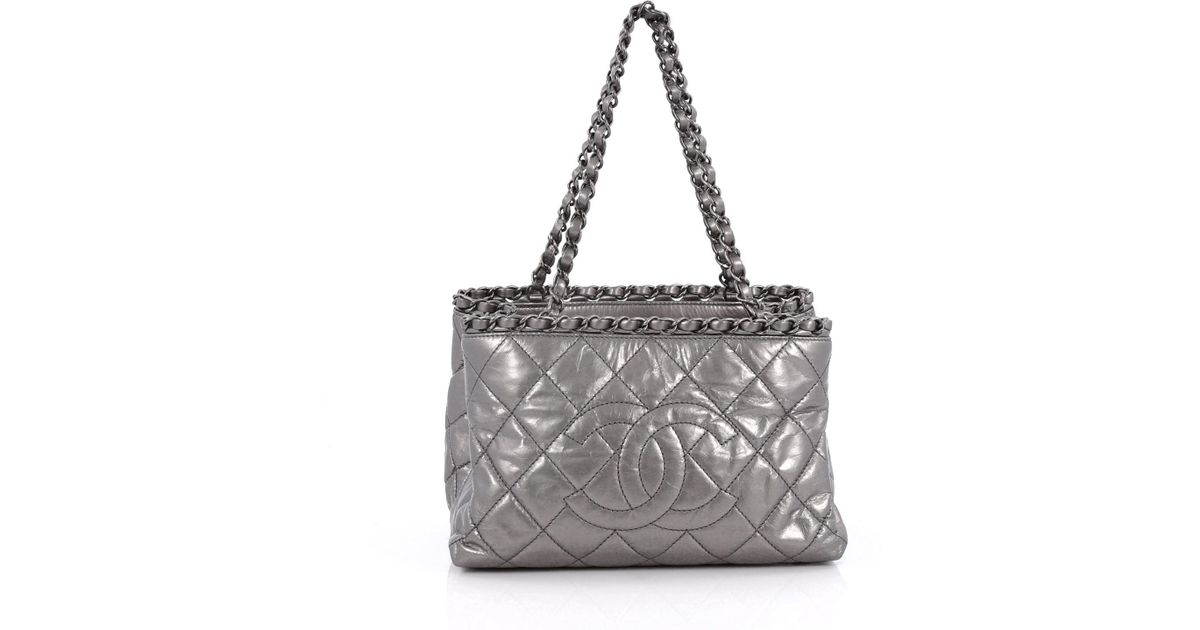6719237c3a5b37 Lyst - Chanel Chain Me Tote Quilted Calfskin Small in Metallic