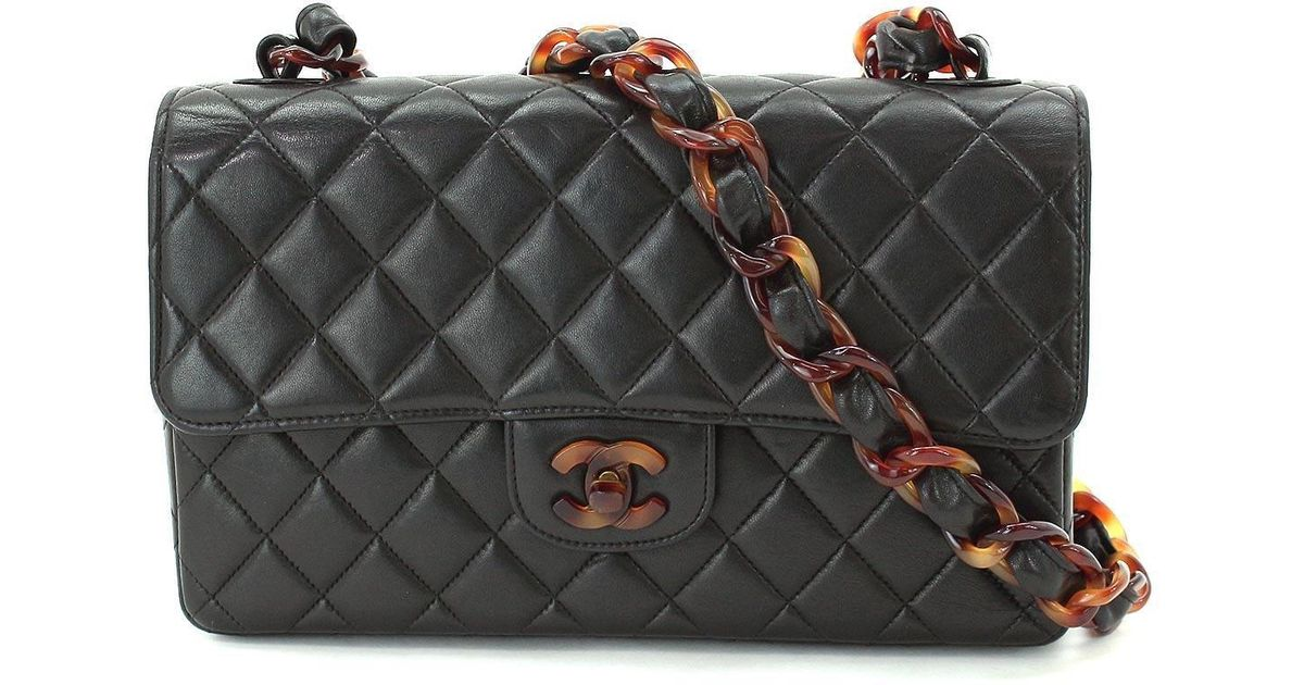 625e98977a37 Chanel Plastic Chain Shoulder Bag Leather Black Purse Vintage 90043963.. in  Black - Lyst