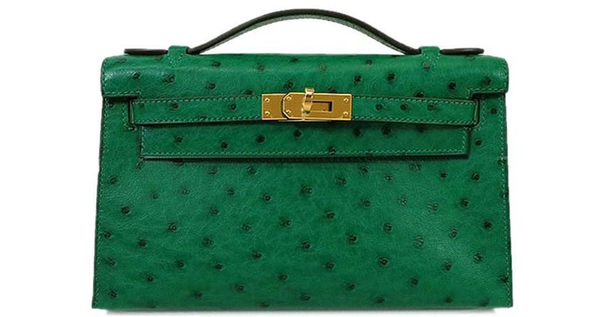 Lyst Hermès Handbag Pochette Kelly Vert Vertigo Ostrich Autruche Ghw Brand New Authentic In Green
