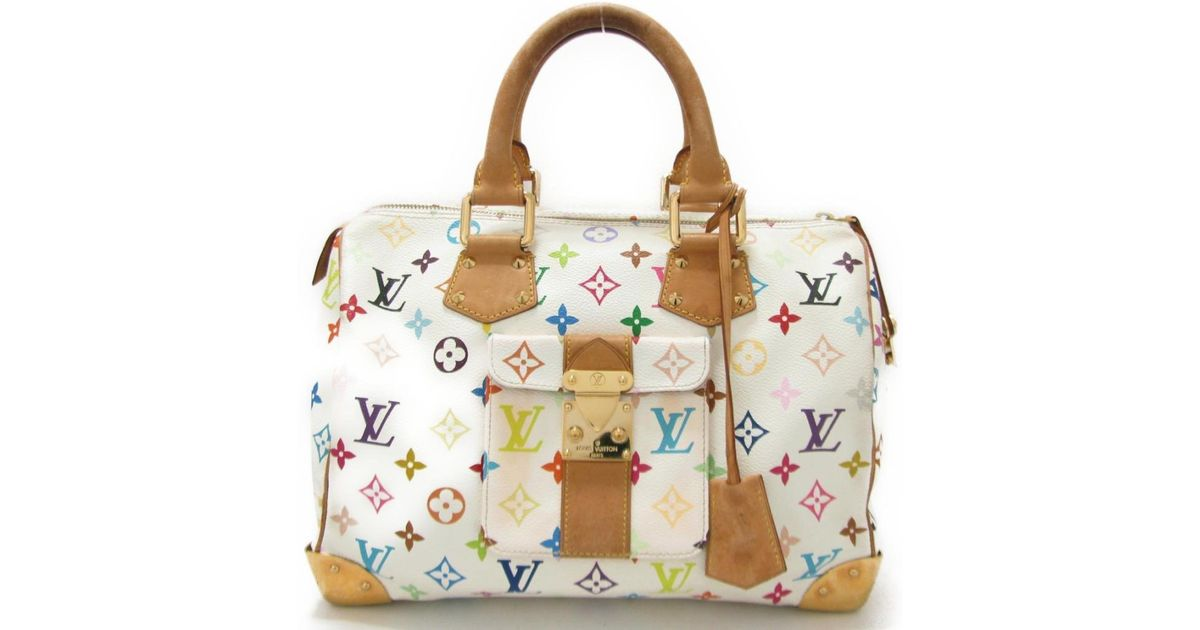3d70610e990e Lyst - Louis Vuitton Monogram Multicolor Speedy 30 Hand Bag M92643 in White