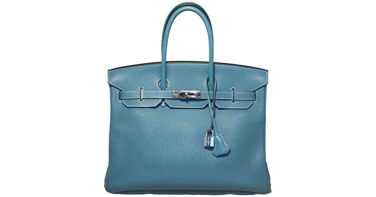 f687a8cbef49 Lyst - Hermès Blue Jean Clemence Leather 35cm Birkin Bag Phw in Blue