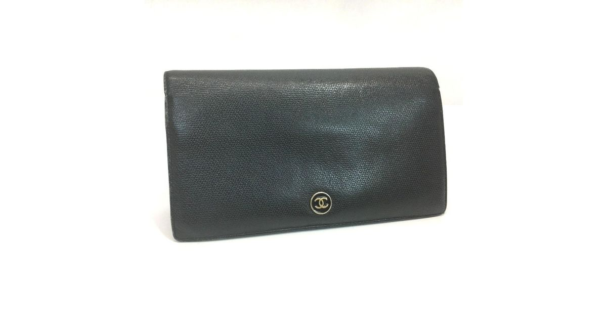 5ab4c7151e6d Chanel Cc Mark Folded Coco Button Long Wallet Black Calf Leather A20904 in  Black - Lyst
