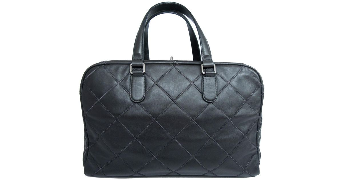 b41423a2551f Lyst - Chanel Auth Quilted Travel Boston Handbag Black Leather Used Vintage  in Black