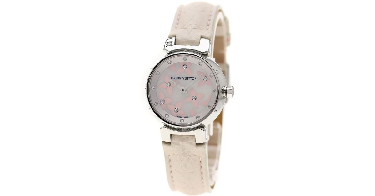 54b6426a9ed Lyst - Louis Vuitton Tambour Lovely Diamond Watches Q121h Stainless Steel satin  Women in Metallic