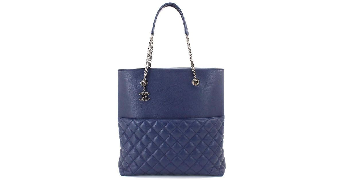 072f4f0b44c52 Lyst Chanel Cavier Skin Chain Tote Bag Leather Navy Blue Purse