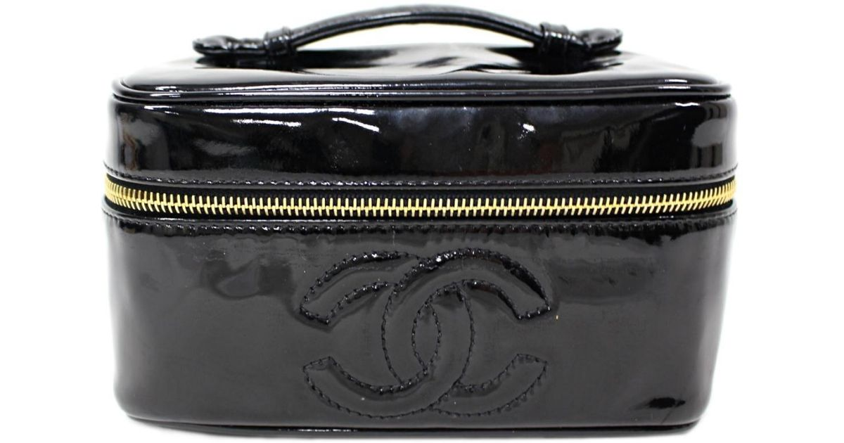 bef27522ca285c Chanel Horizontal Vanity Bag Handbag Black Enamel in Black - Lyst
