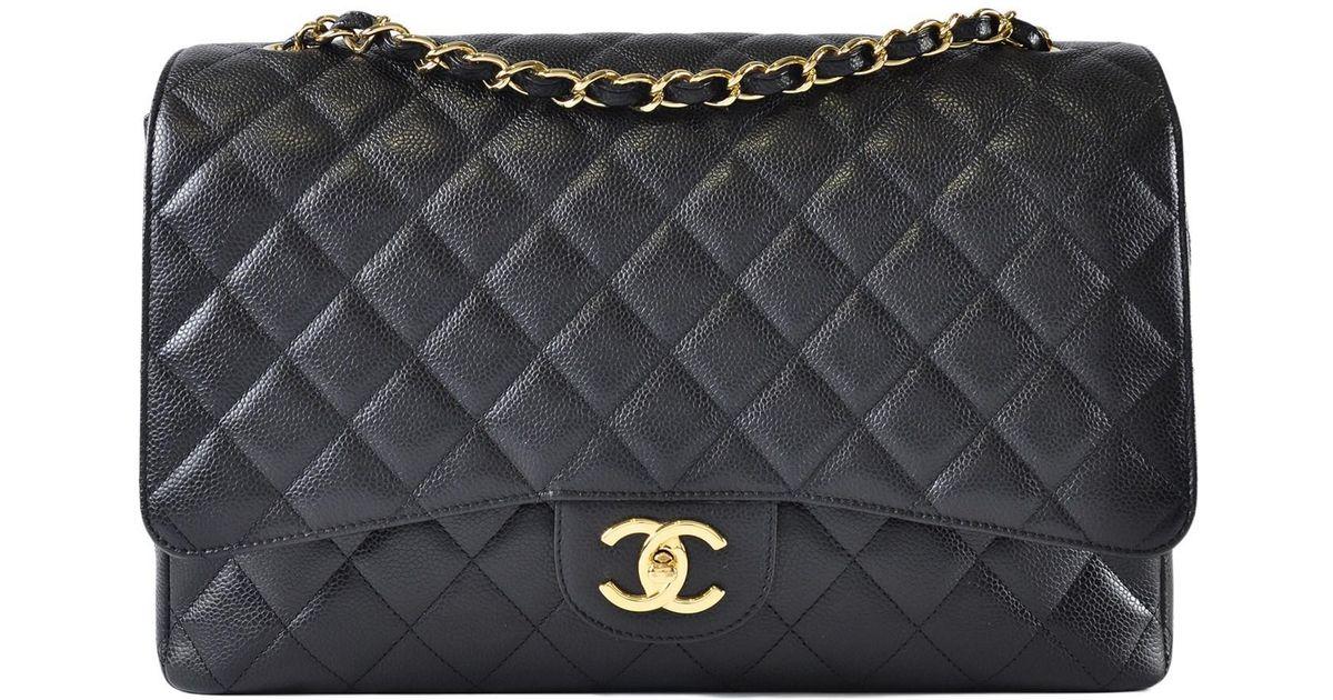 Lyst - Chanel Maxi Jumbo Caviar Classic Flap In Black Ghw in Black 37a0fd10b