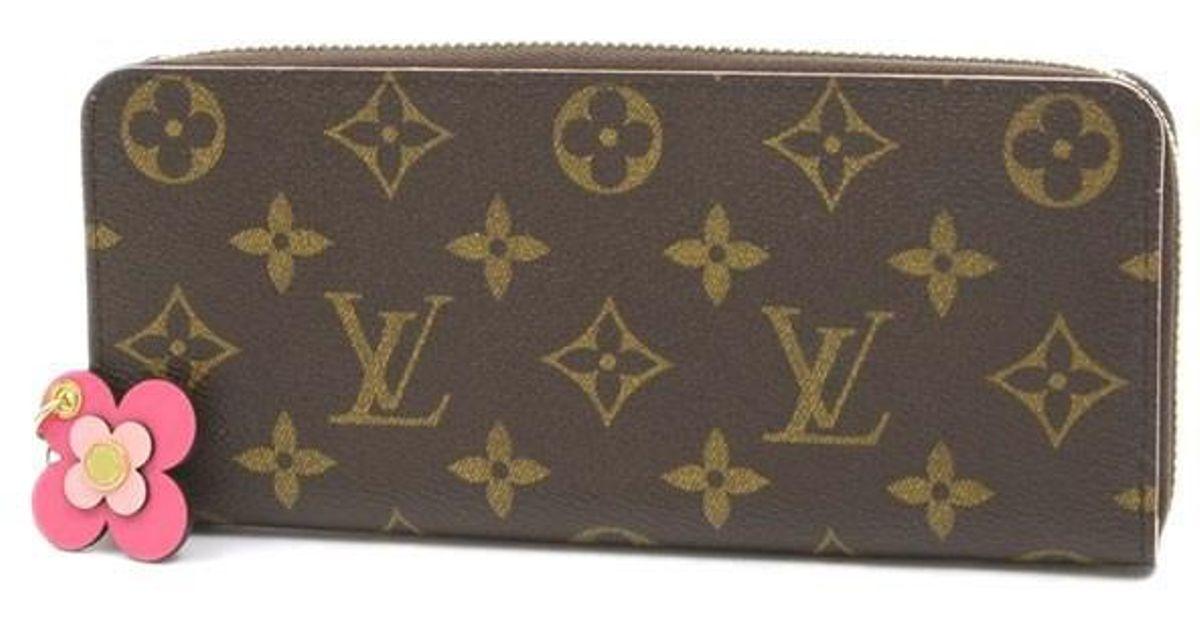 brand new 32197 fc776 Louis Vuitton Brown Monogram Portefeiulle Clemance Purse Flower Pink M64201