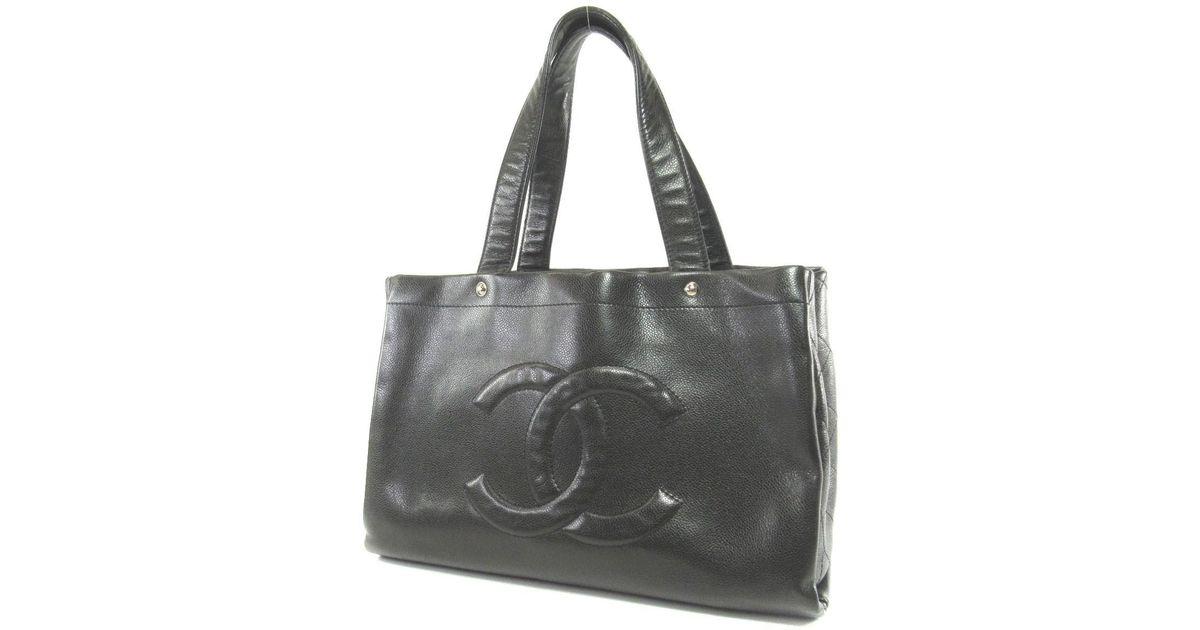daf091dea7c Lyst - Chanel Caviar Skin Tote Bag Coco Mark in Black