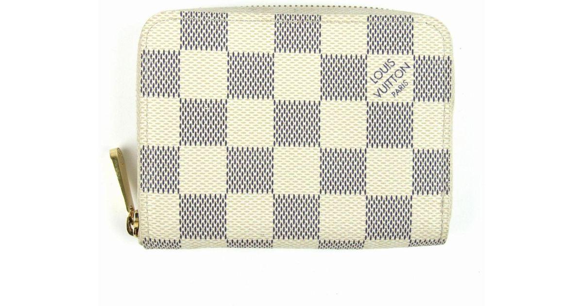 440df8b5 Louis Vuitton White Auth Louisvuitton Zippy Coin Purse Damier Azur Canvas  Ivory N63069