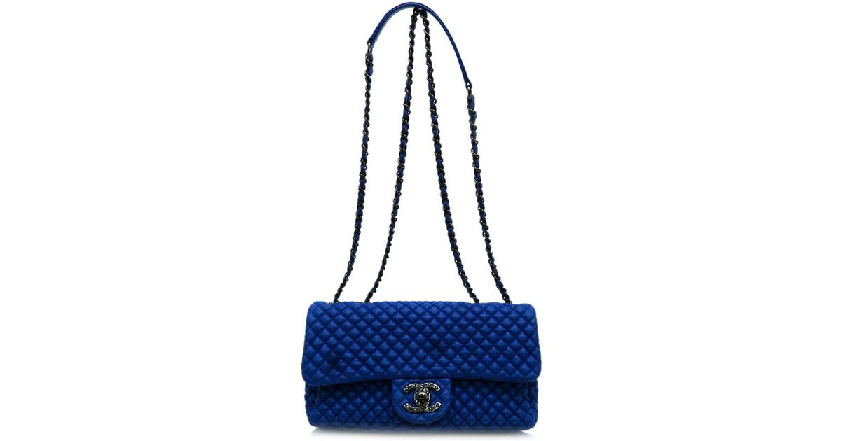 b2e0d3e31ef9 Lyst - Chanel Quilted Lambskin Leather Shw Chain Shoulder Flap Bag Blue  7478 in Blue