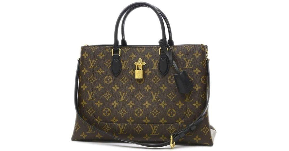 daf2ba6c4132 Lyst - Louis Vuitton Monogram Flower Tote 2 Wayshoulder Bag Noir M43550 in  Brown