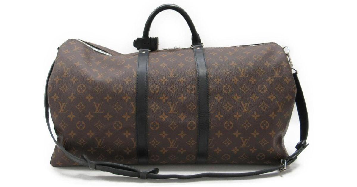 ab7b95a88d72 Lyst - Louis Vuitton Keepall Bandouliere 55 Shoulder Bag Monogram Macassar  M56714 in Black