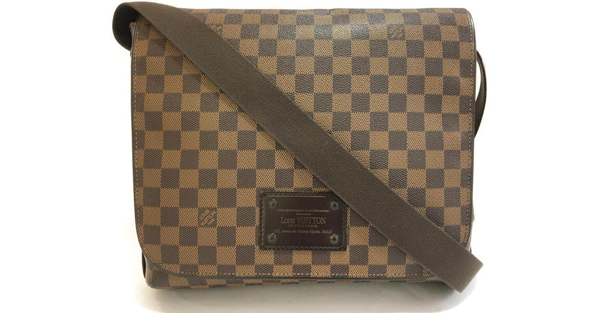 2ffc7192b8e9 Lyst - Louis Vuitton Damier Brooklyn Mm Shoulder Bag Ebene N51211 in Brown