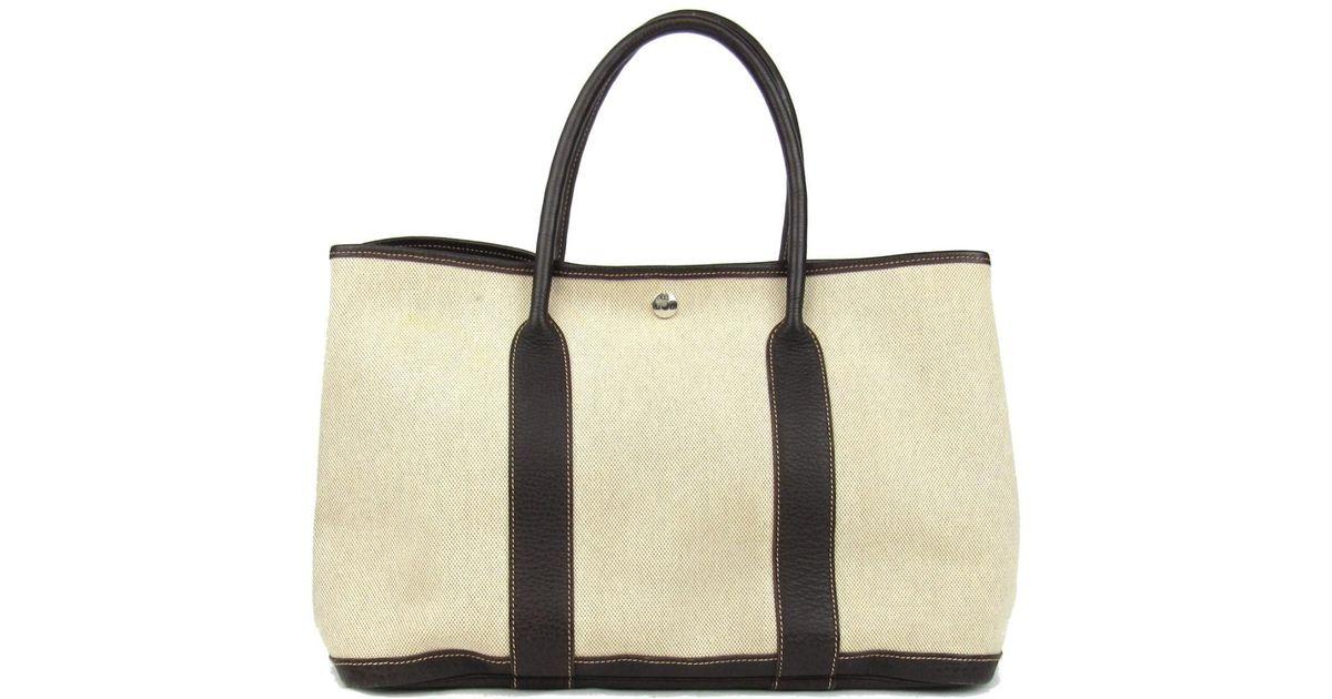 04ec5f385431 Lyst Hermes Garden Party Pm Tote Bag Handbag Toile H Canvas Beige