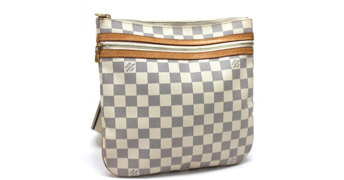 7fc633e119 Louis Vuitton White Damier Azur Pochette Bosphore Crossbody Men's Women's  Shoulder Bag Damierazurcanvas N51112