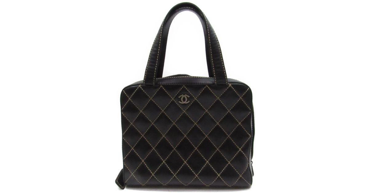 Lyst - Chanel Wild Stitch Handbag Bag Quilted Calfskin Leather Black in  Black 91a689e10cc51