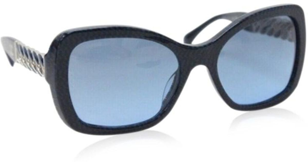 dac3ed0711113 Lyst - Chanel Metal Chain Sunglasses Navy 5305-a in Black