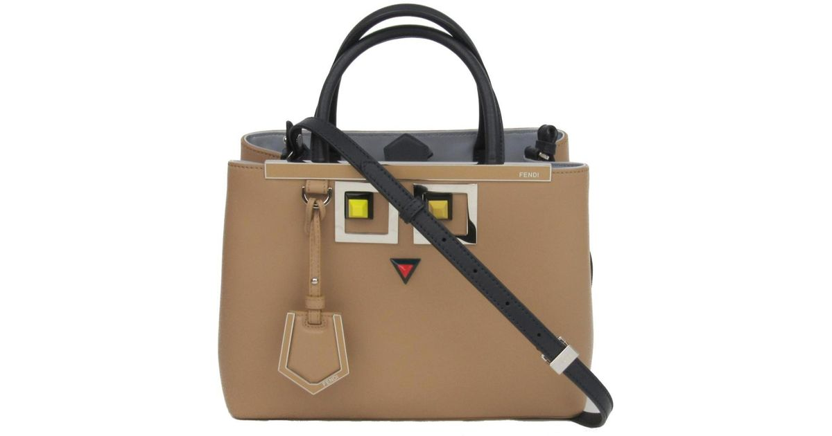 Lyst - Fendi Petite 2 Jour 2way Shoulder Hand Bag 8bh253 Leather (calf)  Beige Black in Natural fc281274a3fdf